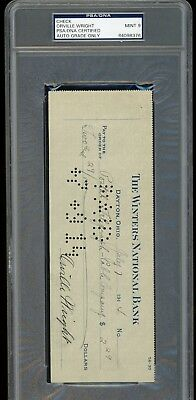 """Orville Wright Signed Check 1914  Rare Autograph PSA/DNA 9 """" First In Flight """""""