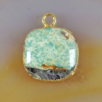 14mm Square Natural Genuine Turquoise Charm One Bail Gold Plated B056309