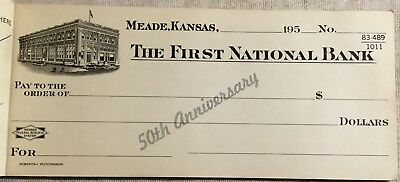 1954 50th Anniversary Checkbook 1st National Bank Meade Kansas 16 Unused Checks
