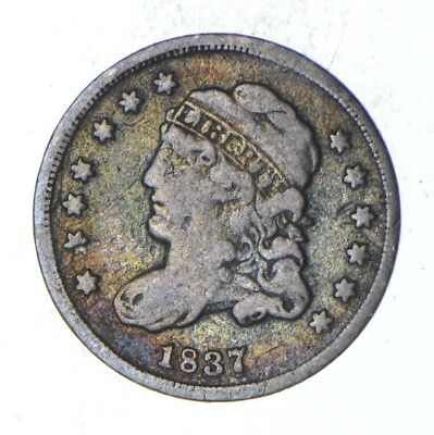 Rare - 1837 Capped Bust Half Dime - Tough to Find - US Early Silver Coin *367