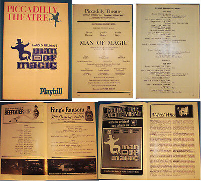 Houdini Man of Magic Playbill-Musical-1966-Picadilly Theatre London-v.FINE-Op