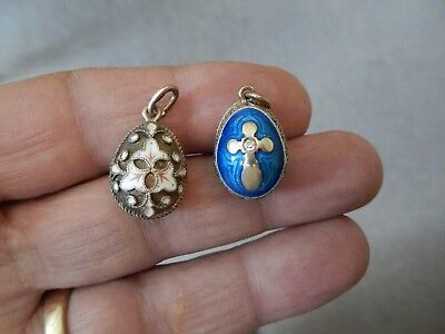 2 Vintage Russian Sterling Faberge Egg Charms Marked With Russian Hammer & Star