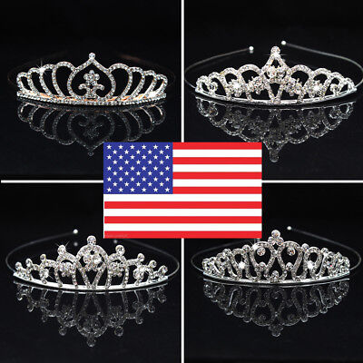 Girl Princess Heart  Crystal Tiara Wedding Crown Veil Hair Accessory US Hot