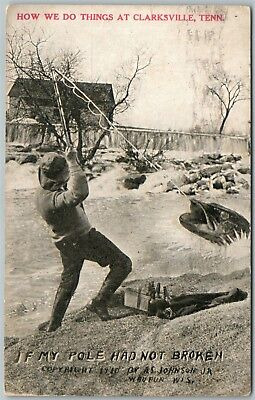 Clarksville Tn Fishing Exaggerated 1918 Antique Postcard