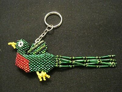 Beaded Quetzal bird keychain from Guatemala ~ Colorful