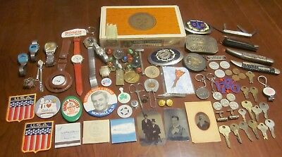 Vtg Junk Drawer Lot Knives, Watches, Belt Buckles, Tin Photos, Coins *free Ship*