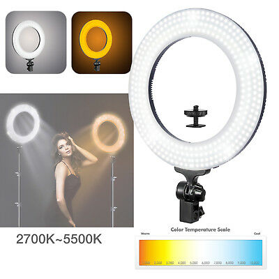 """Lusana Studio Photography 14"""" Fluorescent Ring Light with White Diffuser & Mount"""