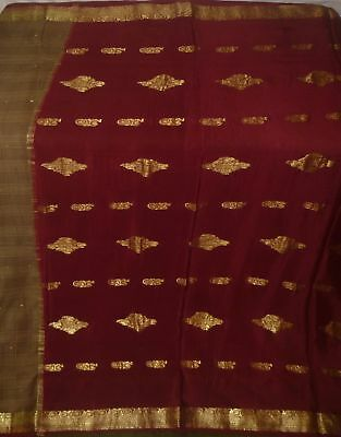 Antique Vintage Weaving Woven Fabric 2 Color Pure Silk Sari Saree
