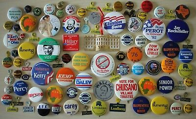 Mixed Lot of 90 Pinbacks Buttons VTG Politics Elections Presidential Local GOP