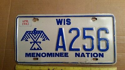 License Plate, Wisconsin, Menominee Nation, Native Amer. Bird Graphics, A 256