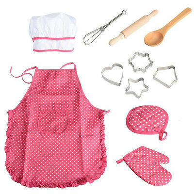 Apron Chef Set Kids Cooking Baking Set with Hat Pretend Play Cooker Kits New BS