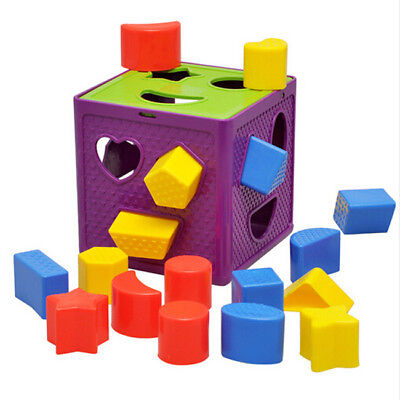Baby Blocks Shape Sorter Toy Blocks Multi Shapes Color Recognition Toys New BS