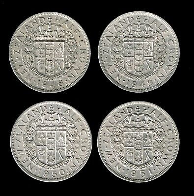 NEW ZEALAND:- King George VI (titled - SEXTUS), Set of all 4 dates crowns AP6956