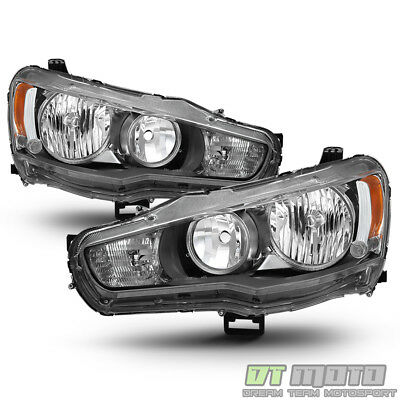 2008-2017 Mitsubishi Lancer EVO X Headlights Headlamps 08-17 Halogen Left+Right
