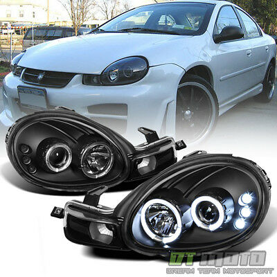 Blk 2000 2001 2002 Dodge Neon Led Dual Halo Projector Headlights W Signal Lamps