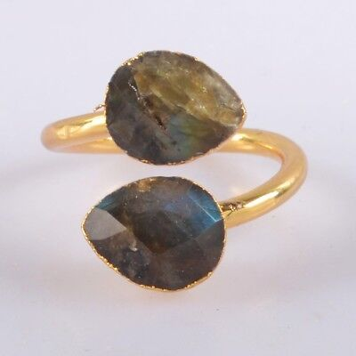 Size 5.5 Natural Labradorite Faceted Adjustable Ring Gold Plated B056373
