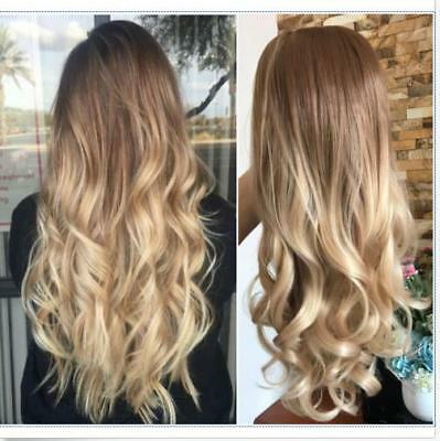 Long Straight Wavy Ombre Full Head Wig Synthetic Brown Blonde None Lace Parting