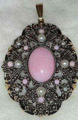 "Avon Large Pendant With Pink Stone 2"" x 1 1/2"""