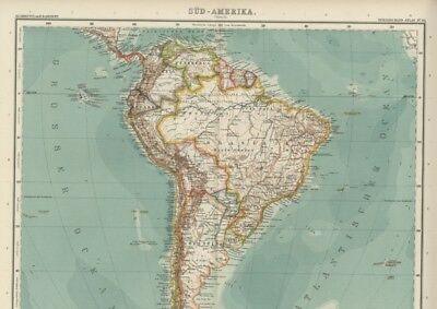 South America; FIVE Large, Detailed Sectional Maps with Fine Color: Dated 1908