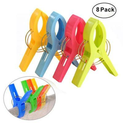 HOT Pack of 8 Large Bright Colour Plastic Beach Towel Pegs Clips to Sunbed 2018