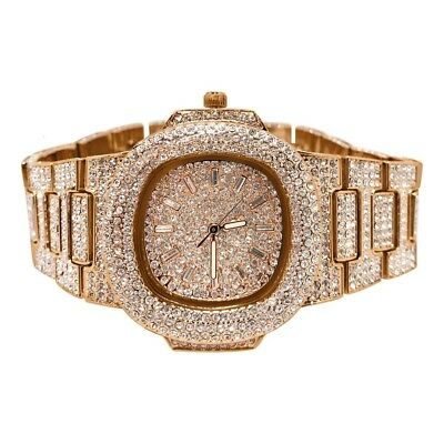 Rose Gold Iced Out Czech Crystal Nautical Luxury Watch