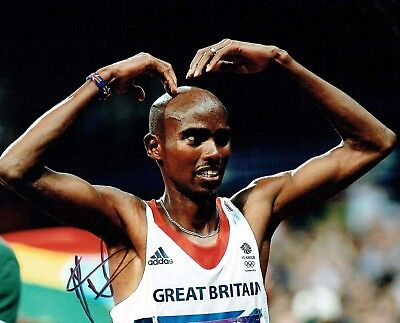 Mo FARAH Autograph 10x8 Signed Photo AFTAL COA Great Britain Olympics Mobot