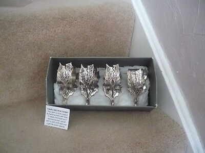 A Set Of Four Silver Plated Napkin Ring Holders Seasons Of Cannon Falls In Box