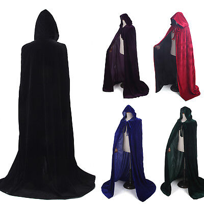 Adult Velvet Hooded Cloak Long Gothic Vampire Wicca Robe Larp Cape Cosplay Goth
