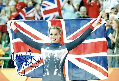 Rebecca Becky JAMES Autograph Signed 12x8 Photo AFTAL COA Sprint Track Cyclist