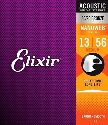 Elixir Nanoweb 11102 80/20 Bronze Anti-Rust Acoustic Guitar Strings 13-56