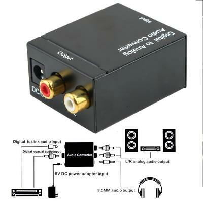 Optical Digital Coax Coaxial Toslink to Analog Audio RCA L/R Converter Adapter