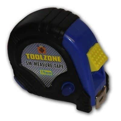 Toolzone - Rubber Coated 5 Meter Tape Measure - Quality x 19mm Measuring Metric
