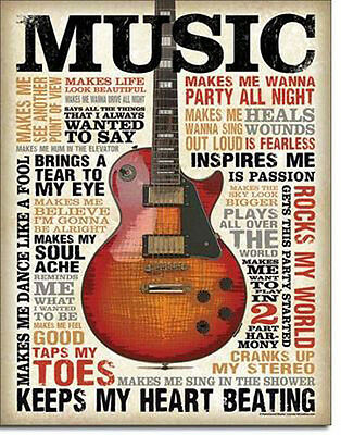 Music Sign Guitar Inspires Rocks My World Party Metal Advertising Tin New USA