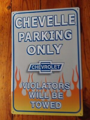 Chevelle Sign Parking Only Flames Towed Vintage Metal Advertising Tin New USA