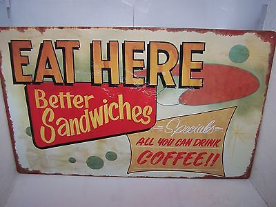 Diner Sign Eat Here Sandwiches Coffee Rustic Retro Vintage Advertising New