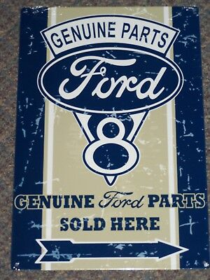 Ford Sign Genuine Parts Sold Here Logo Weathered Advertising Tin Metal New USA