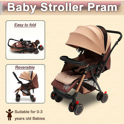 Cushion+ Foldable Baby Stroller Pram Reversible Lightweight Jogger Carry-on 360°