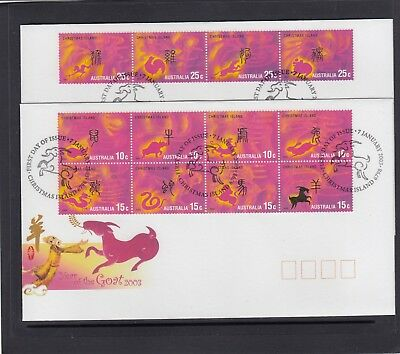 CHRISTMAS IS  2003  Year of the GOAT  Zodiac set of 12  on 2 FDCs.