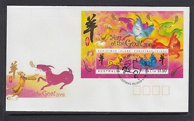 CHRISTMAS IS  2003  Year of the GOAT MINISHEET on FDC