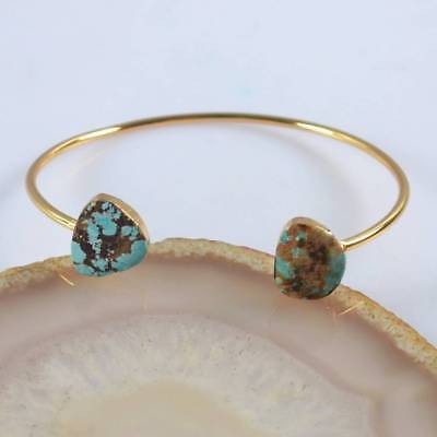 Defective Natural Genuine Turquoise Bangle Gold Plated H120671