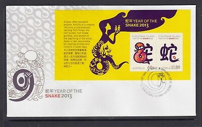 CHRISTMAS IS  2013  Year of the SNAKE MINISHEET on FDC .