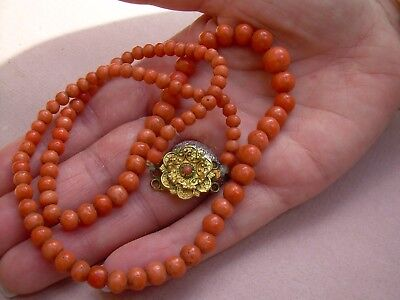 Antique Victorian Natural Red Coral  Graduated Bead Necklace (27.89 grams).