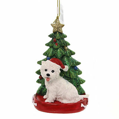 Holiday Ornaments DOG W/CHRISTMAS TREE Pet Puppy Best Friend C7615 West Highland