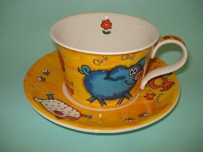 Dunoon Funky Farm Large Breakfast Cup And Saucer