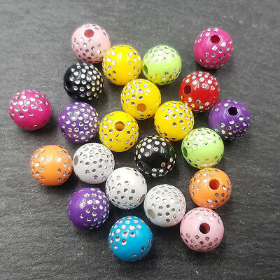 Round beads Brilliant Loose color Wholesale Acrylic Mixed spacer Crafts 100pcs
