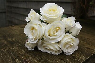 9  x IVORY (PALE CREAM) SILK ROSES & ROSE BUDS TIED BUNCH / SMALL BOUQUET