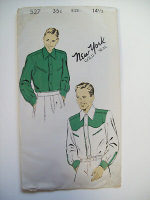 40's Mens western shirt pattern 527 size 14 1/2 unused