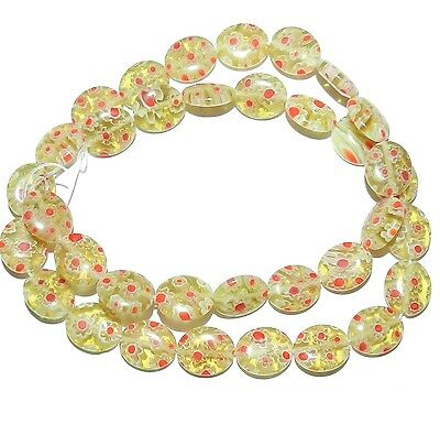 """G2990 Golden Olive w White & Red Flowers 12mm Oval Millefiori Glass Beads 15"""""""
