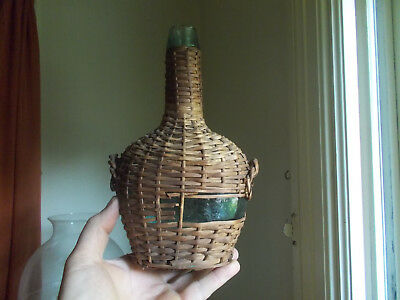 "1870s TEAL WHITTLED KIDNEY SHAPE SMALL 9 1/2"" DEMIJOHN BOTTLE APPLIED LIP WICKER"