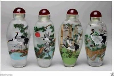 Chinese 4 pcs for set white crane Glass Snuff Bottle Painting